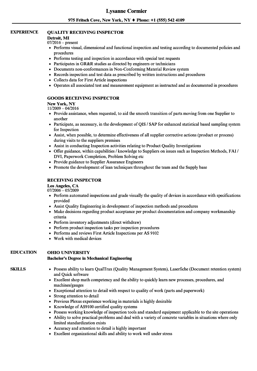 Receiving Inspector Resume Samples Velvet Jobs