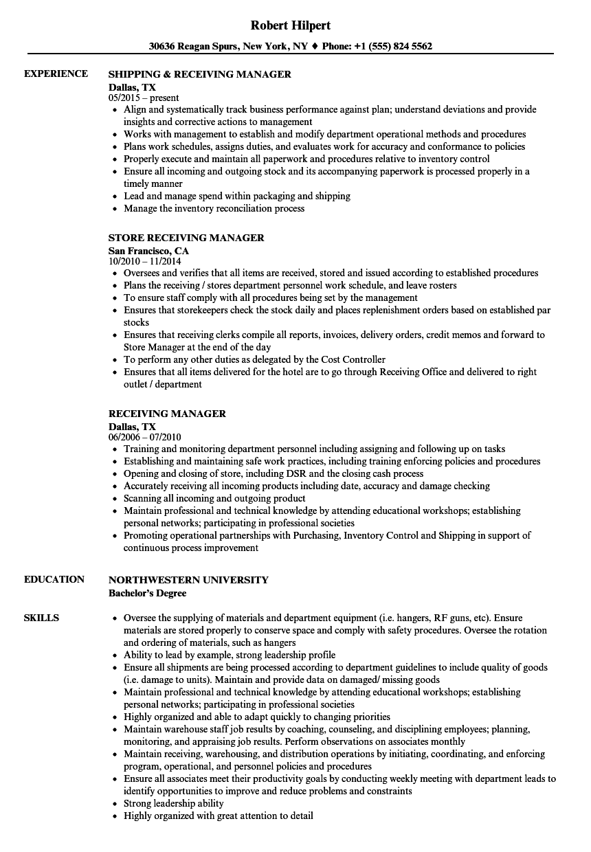 recieving manager resume examples