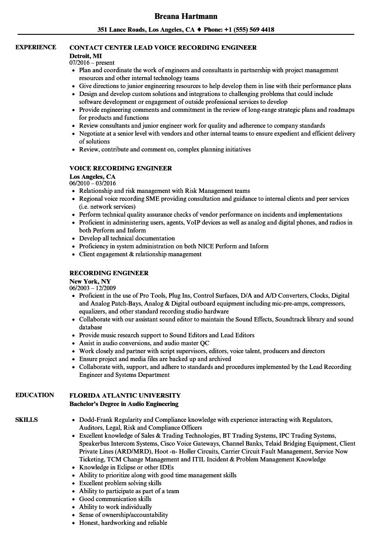 recording engineer resume sample