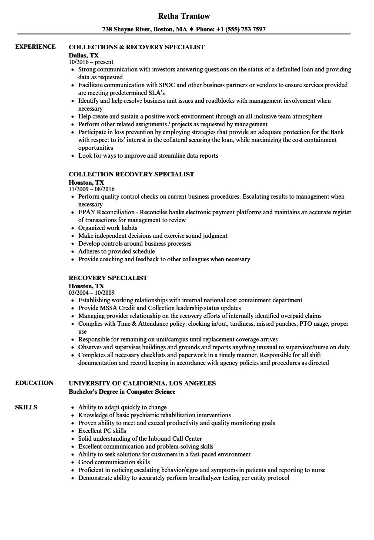 Recovery Specialist Resume Samples Velvet Jobs
