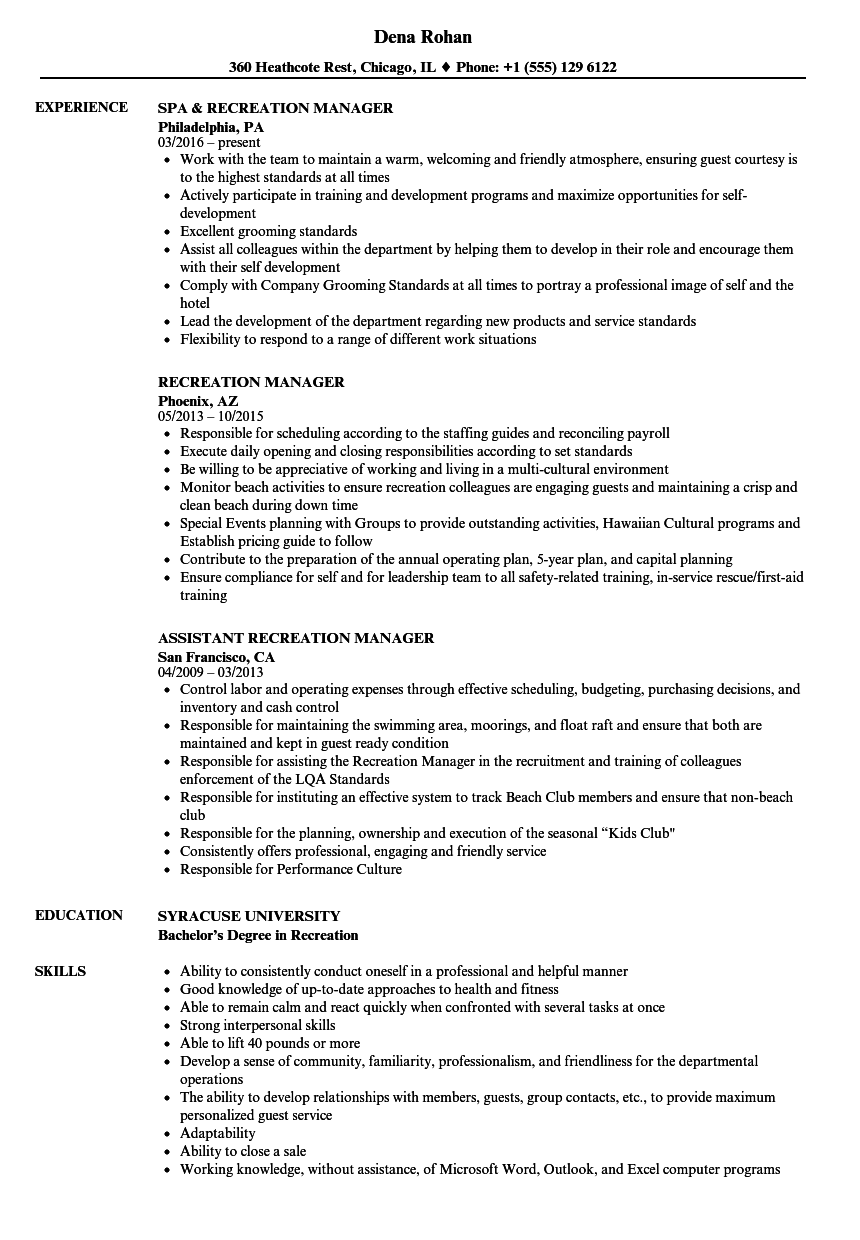 recreation assistant resume sample