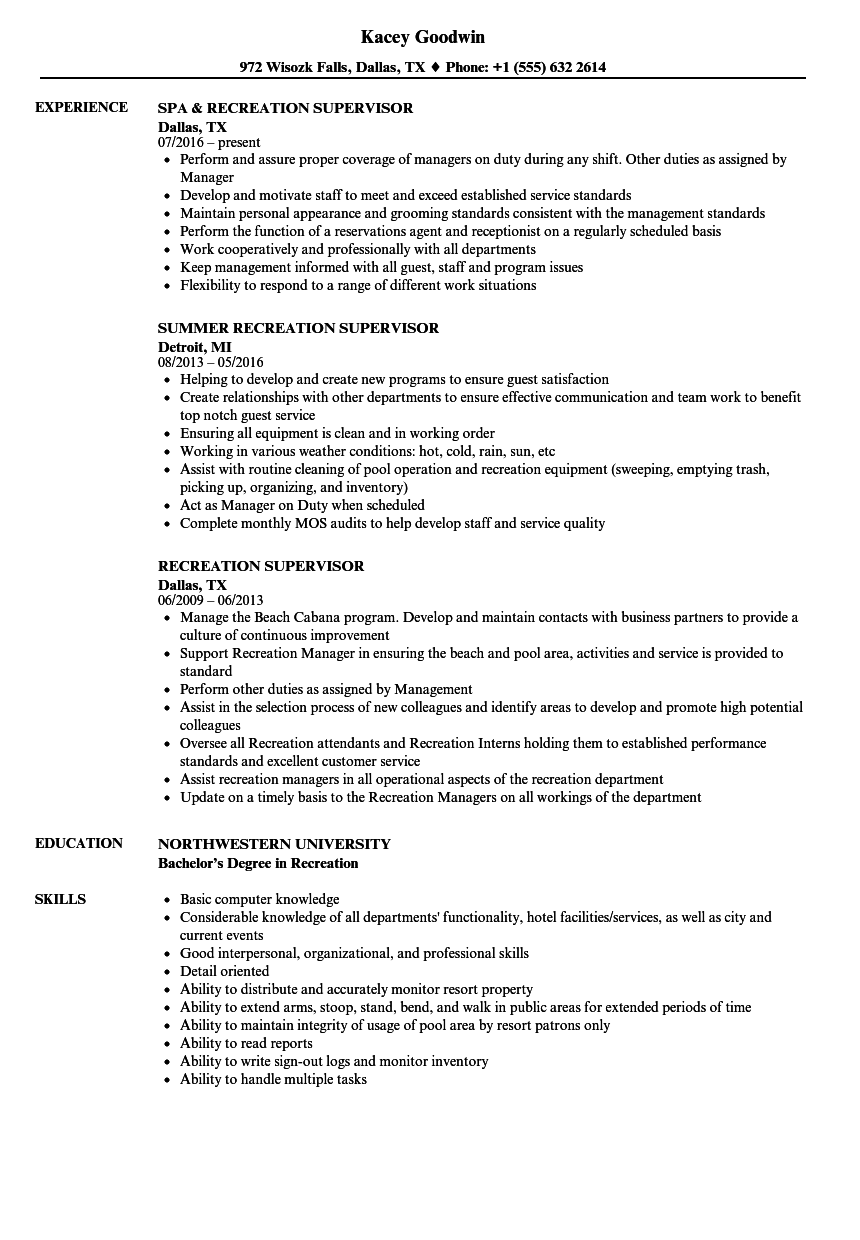 Recreation Supervisor Resume Samples  Velvet Jobs