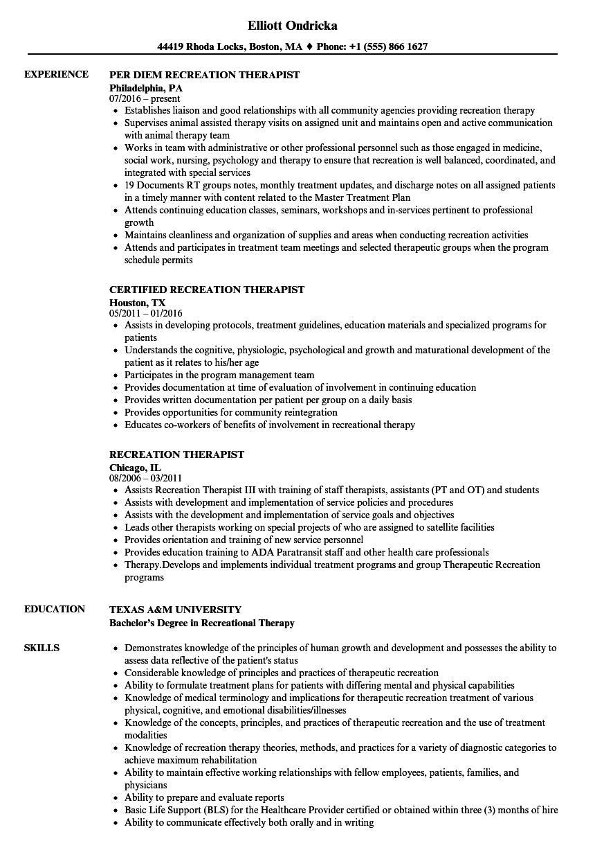 recreation resume examples