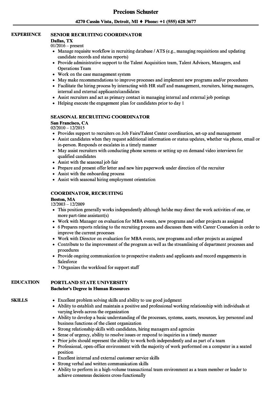Recruiting Coordinator Recruiting Coordinator Resume