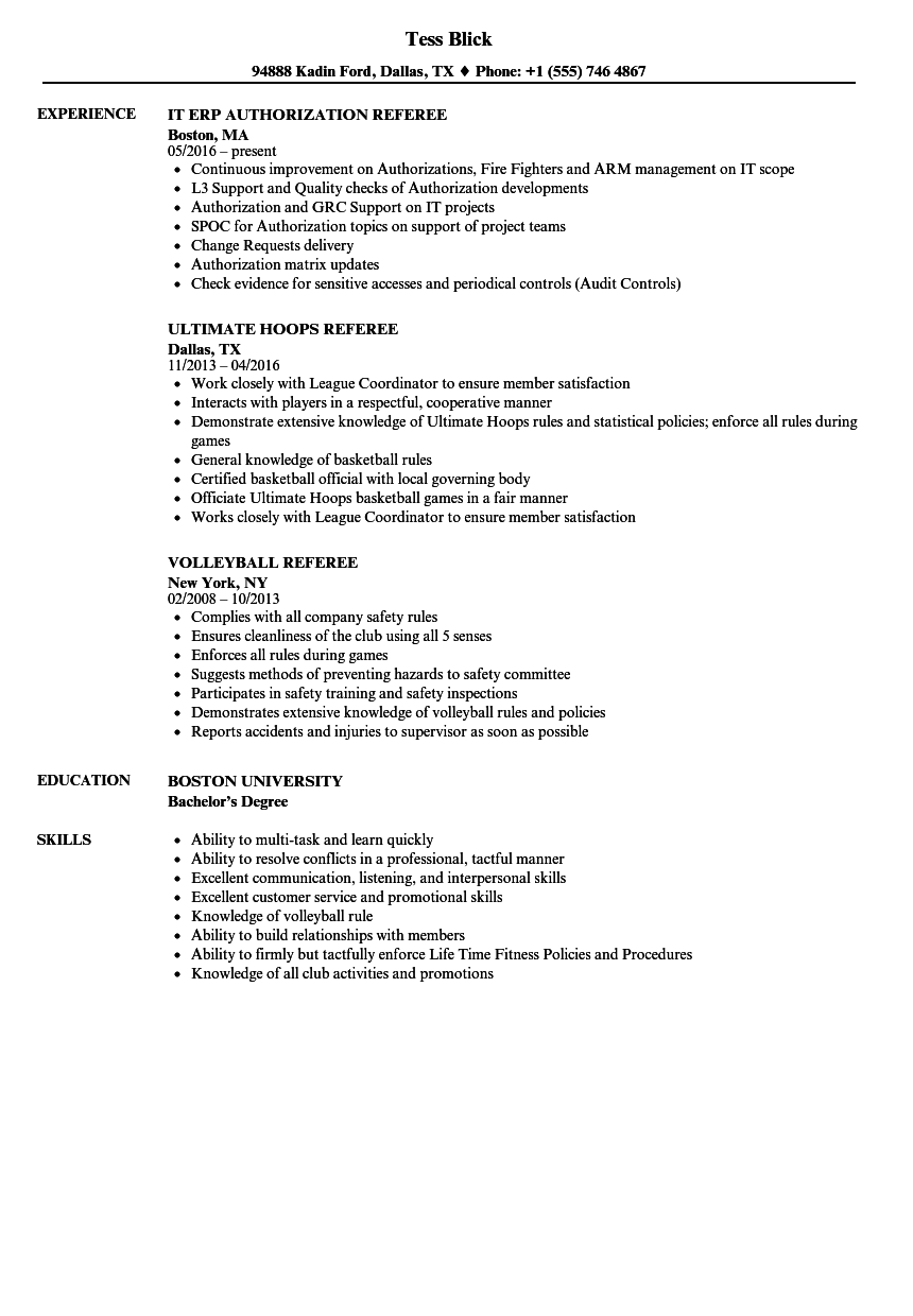 Referee Resume  Resume Ideas