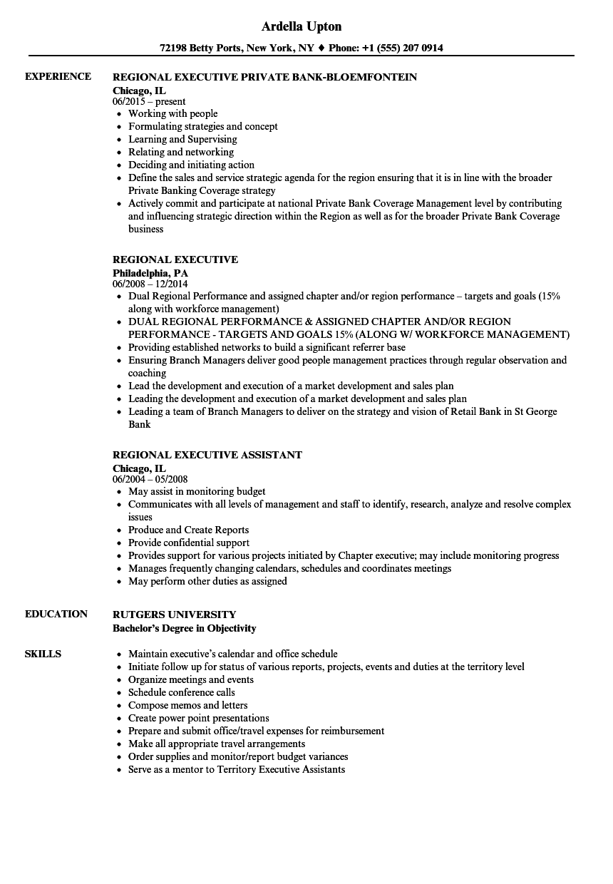 Download Regional Executive Resume Sample As Image File