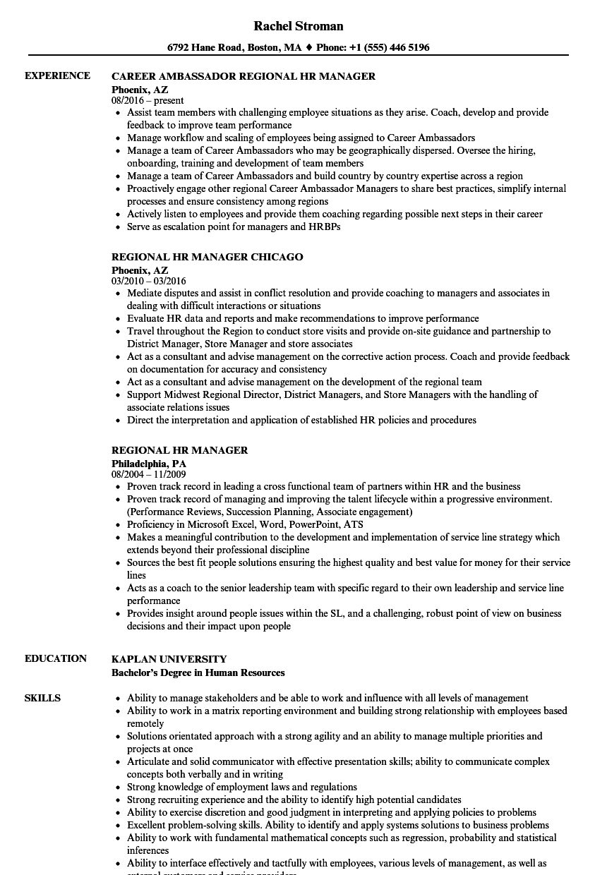 regional hr manager resume sample