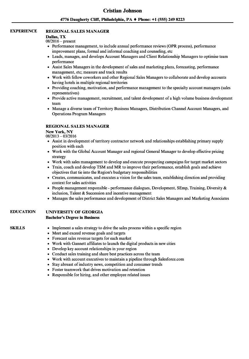resume format for zonal manager