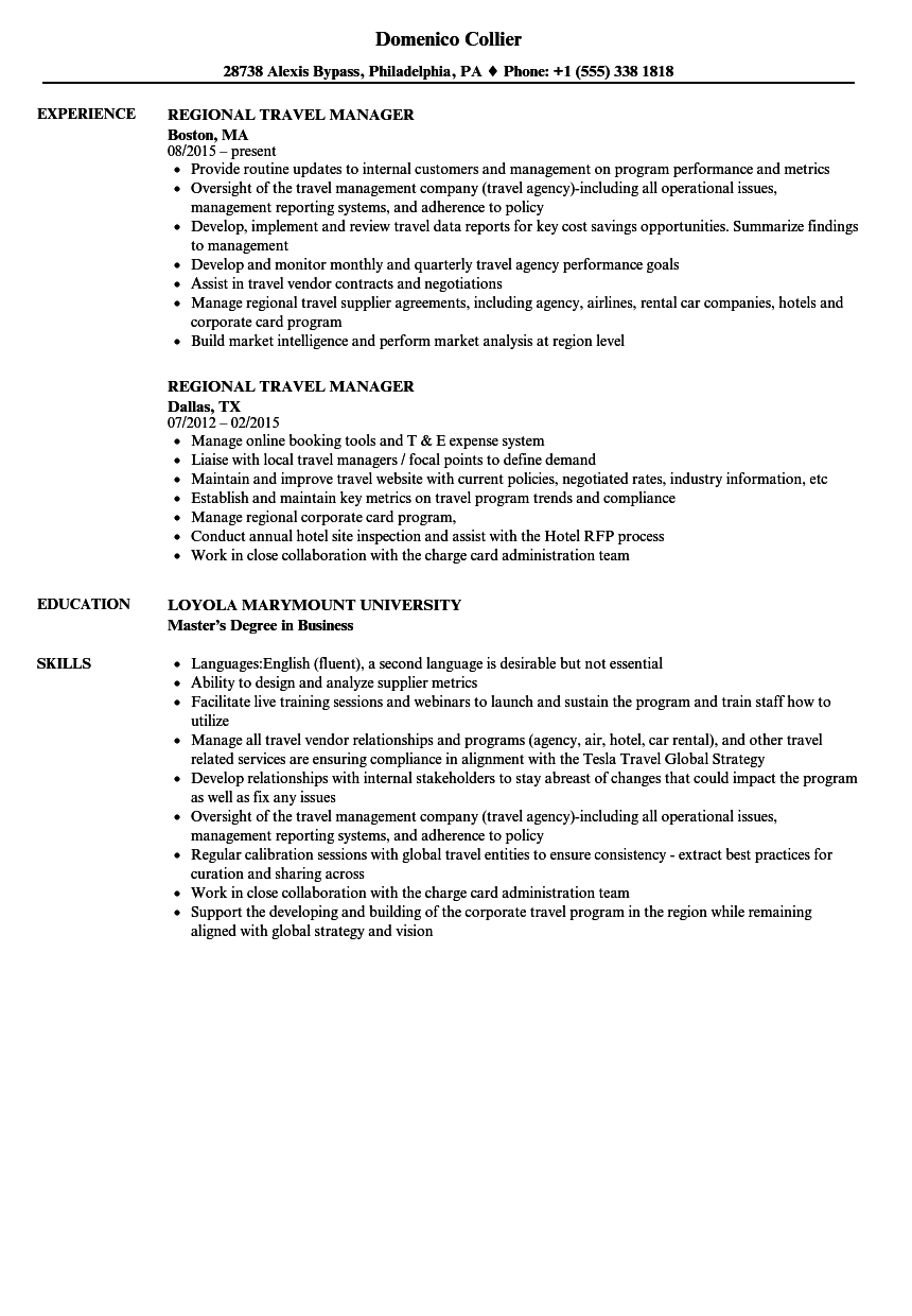 Regional Travel Manager Resume Samples Velvet Jobs