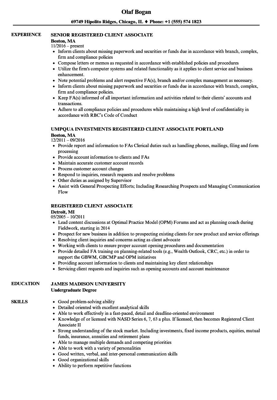Registered Client Associate Resume Samples Velvet Jobs