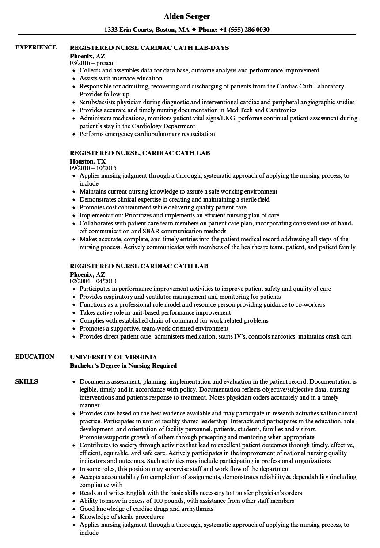 Download Registered Nurse Cardiac Cath Resume Sample As Image File