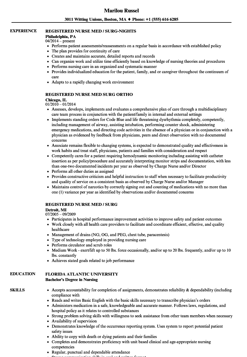 Registered Nurse Med Surg Resume Samples Velvet Jobs