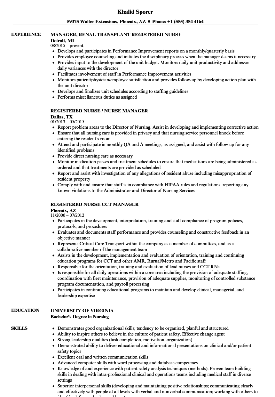sample resume for renal nurse