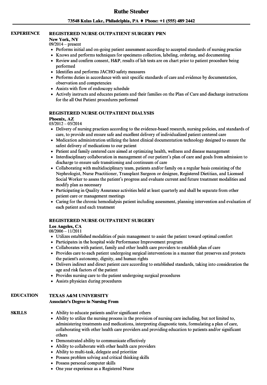 Registered Nurse Outpatient Resume Samples Velvet Jobs