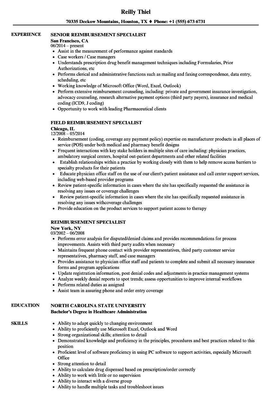 Reimbursement Specialist Resume Samples Velvet Jobs