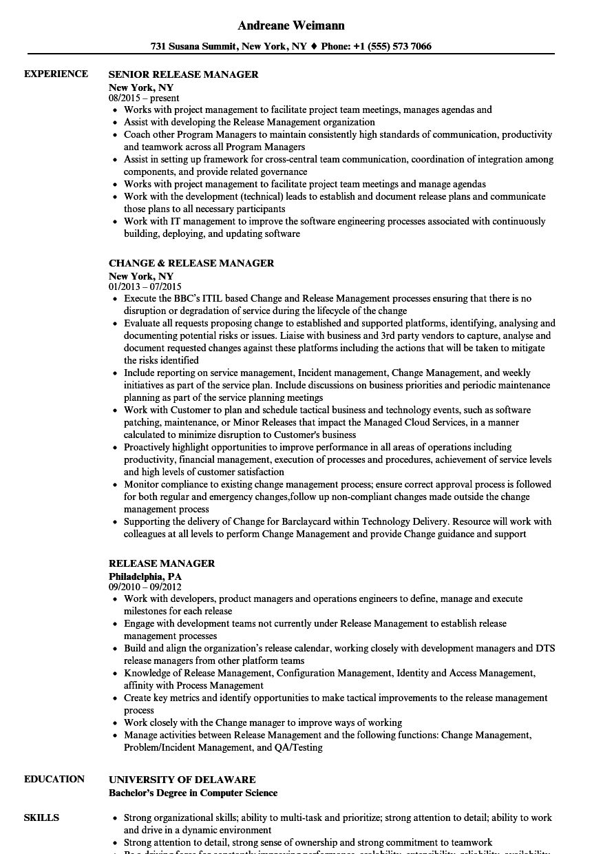 Release Manager Resume Samples Velvet Jobs