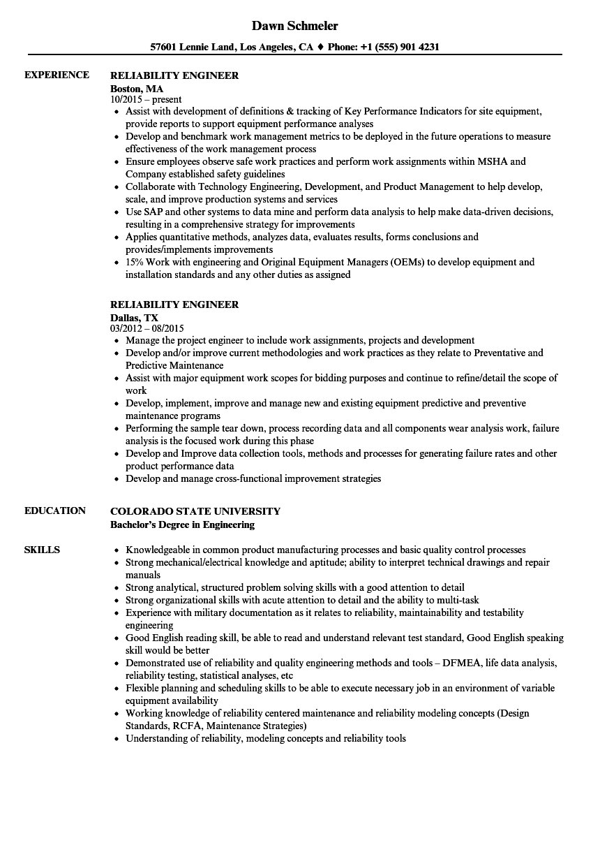 maintenance and reliability engineer resume samples