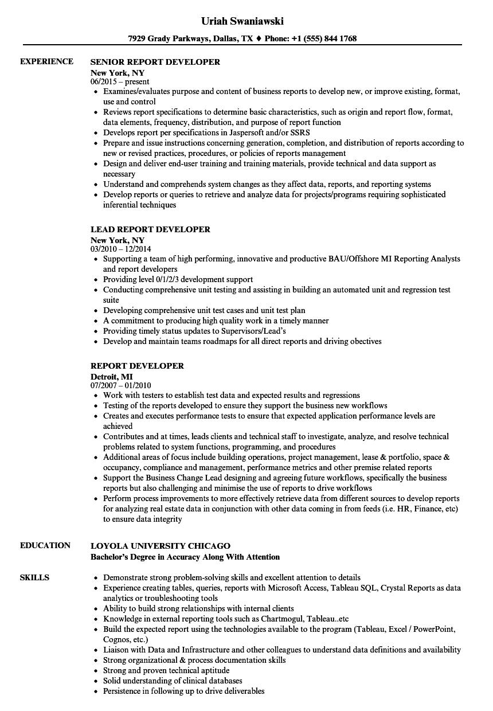 report developer sample resume