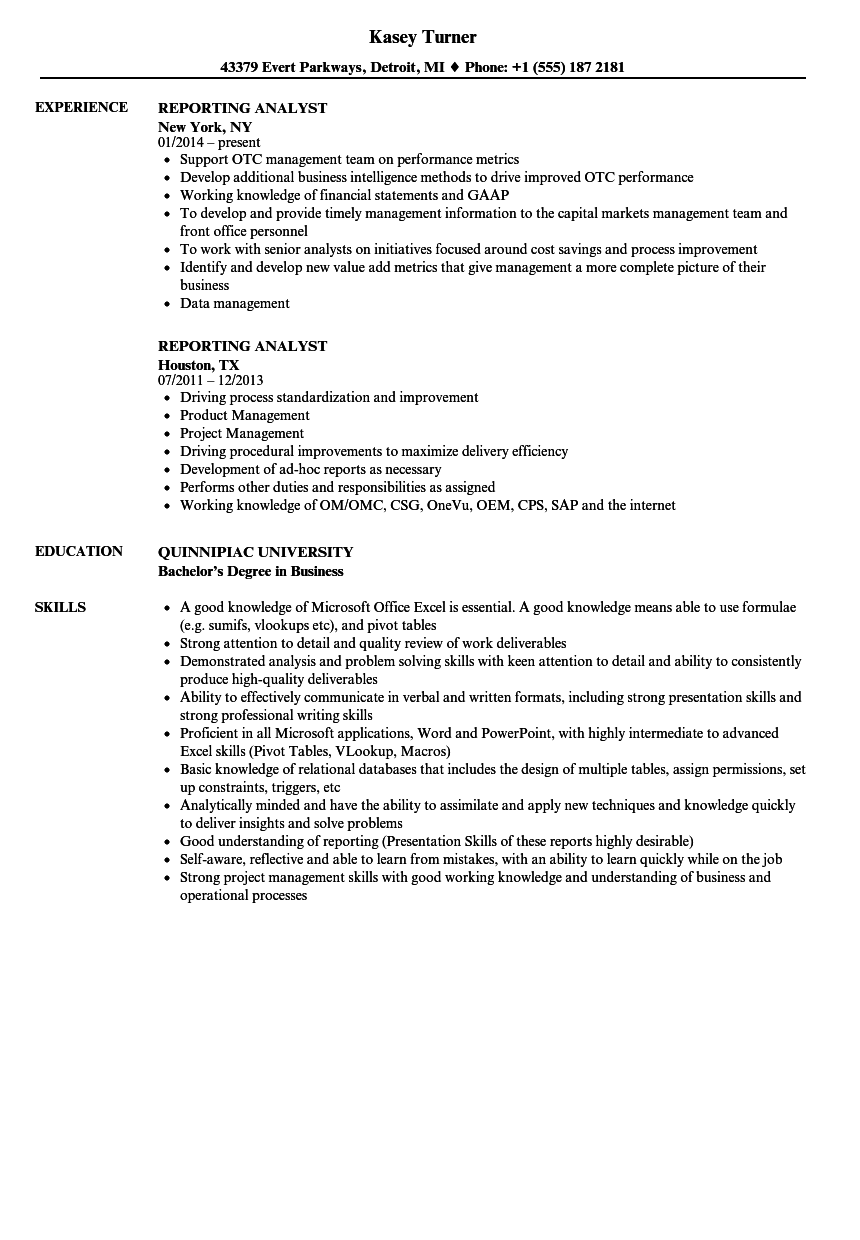 Download Reporting Analyst Resume Sample As Image File