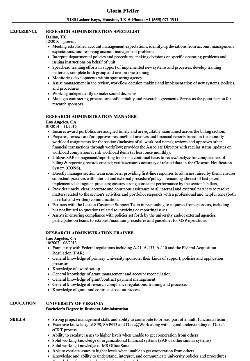 Research Administration Resume Samples Velvet Jobs