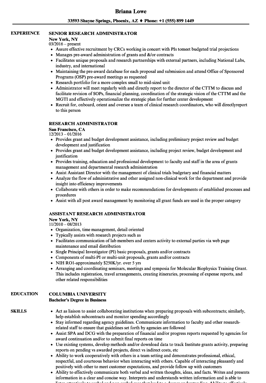 Research Administrator Resume Samples Velvet Jobs