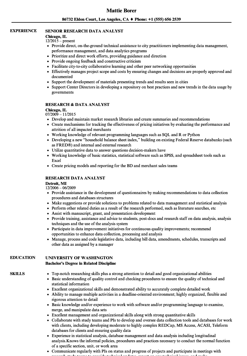 Research Data Analyst Resume Samples Velvet Jobs