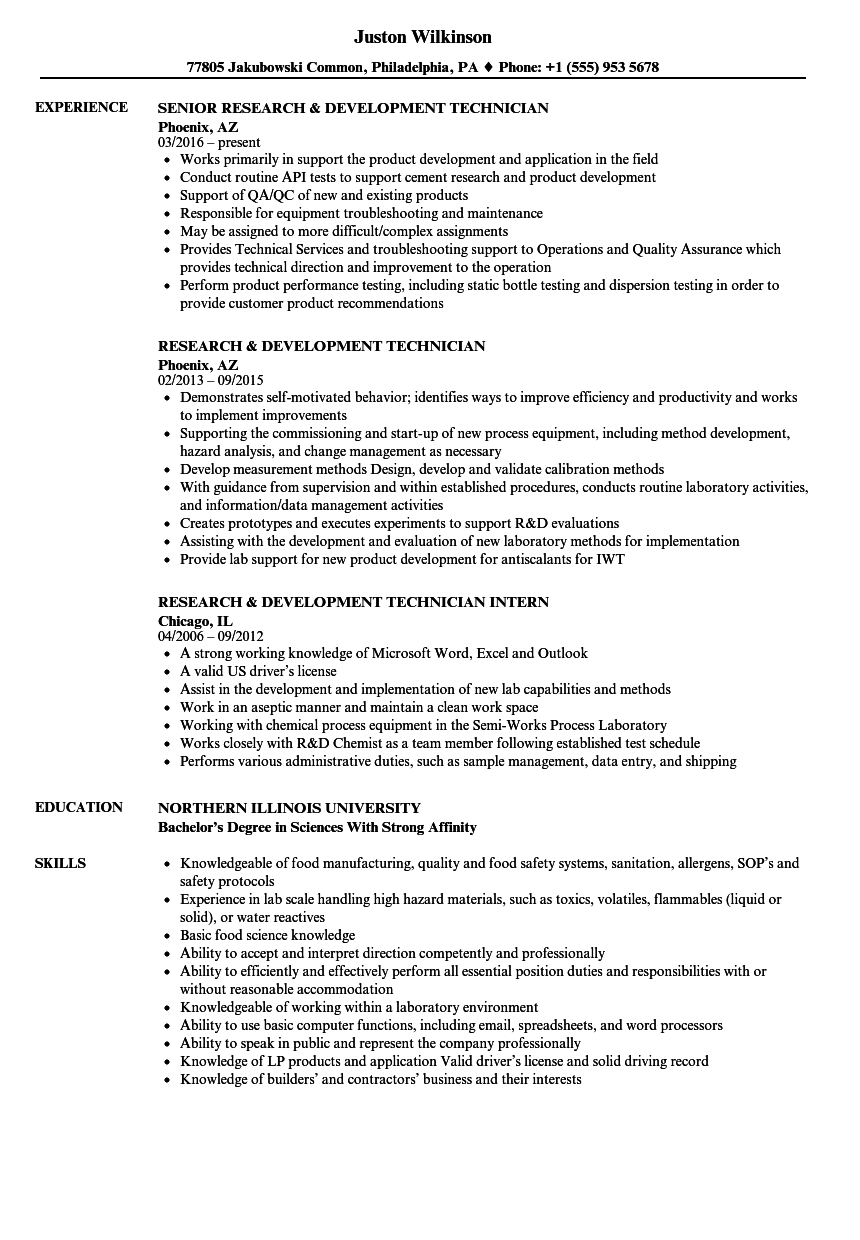 resume examples for lab intern