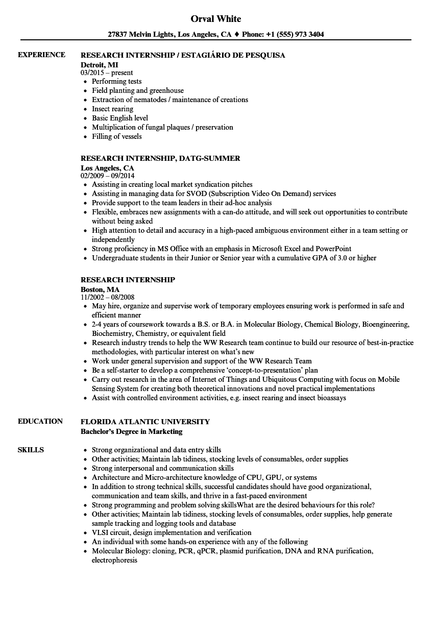research internship resume