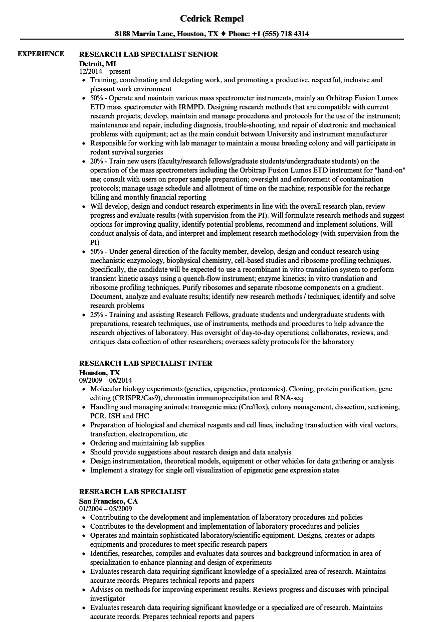 Research Lab Specialist Resume Samples Velvet Jobs
