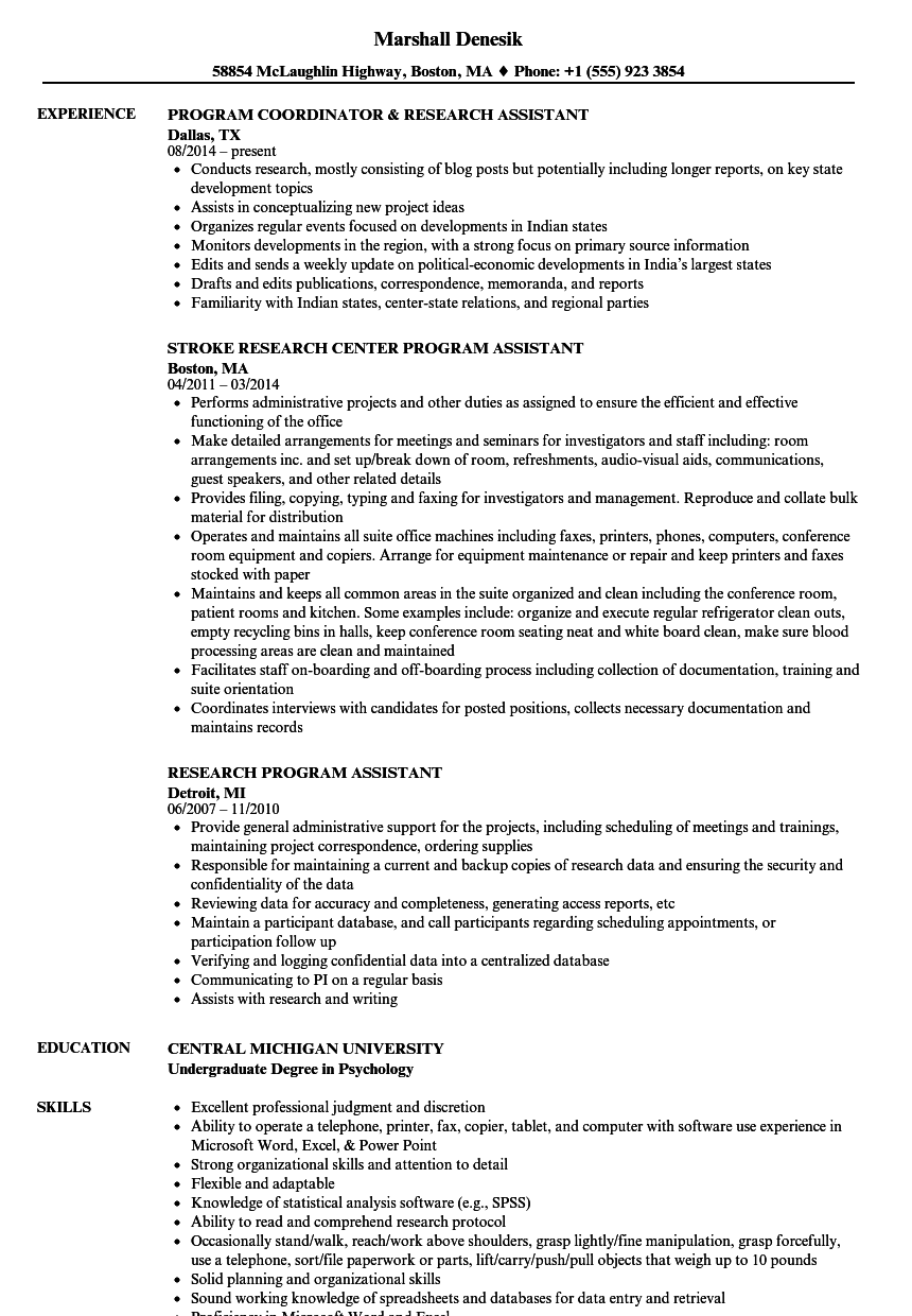 resume example for research assistant
