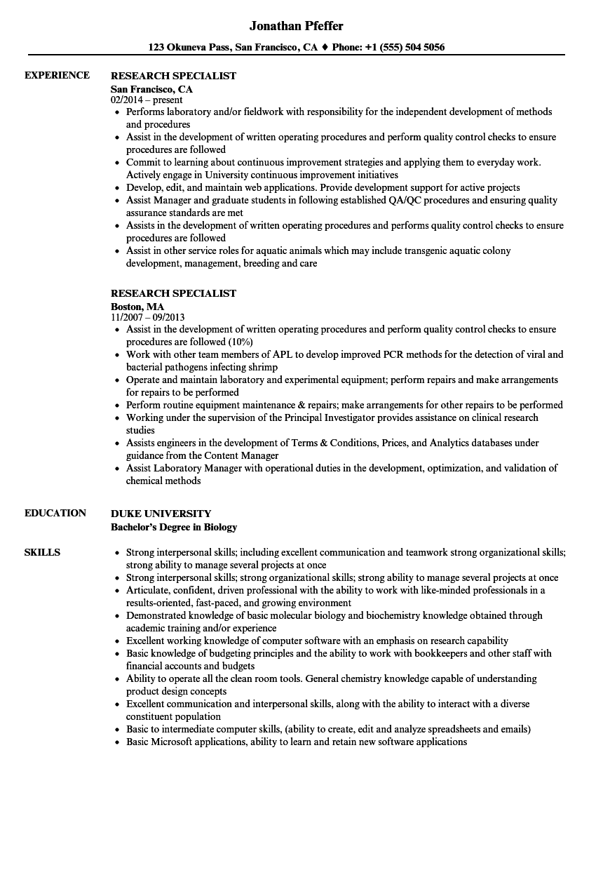 Research Specialist Resume Samples Velvet Jobs