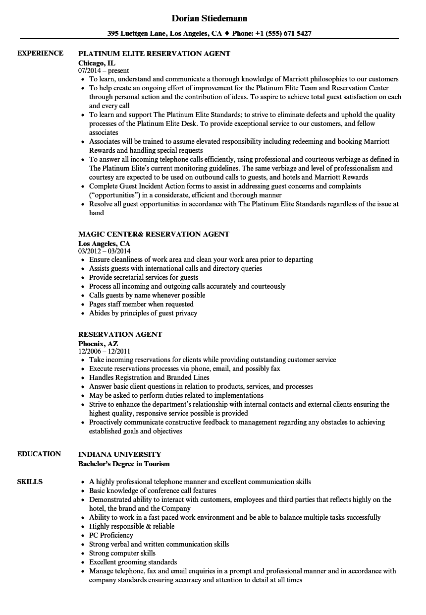 Reservation Agent Resume Samples Velvet Jobs