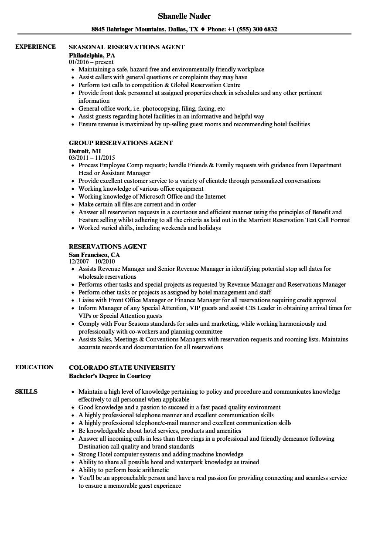 hotel resume sample download