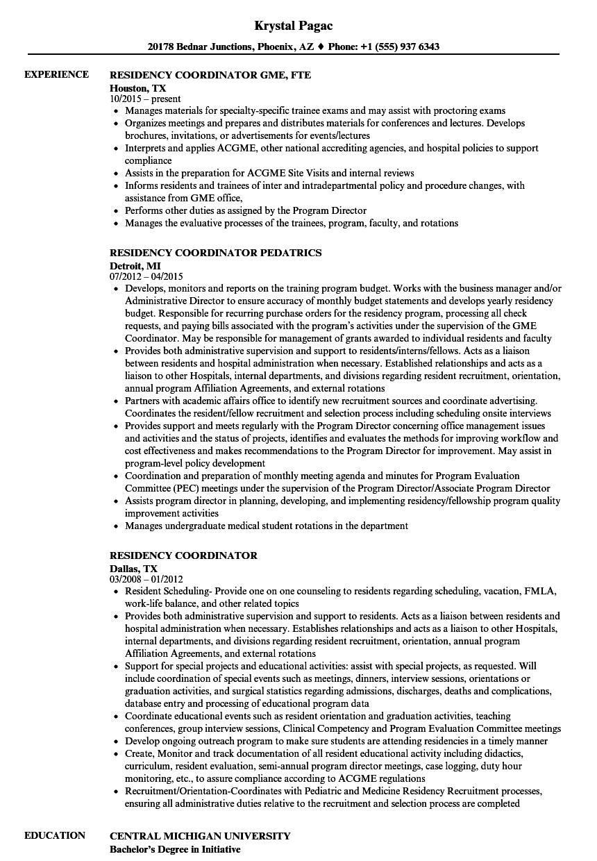 Residency Coordinator Resume Samples Velvet Jobs