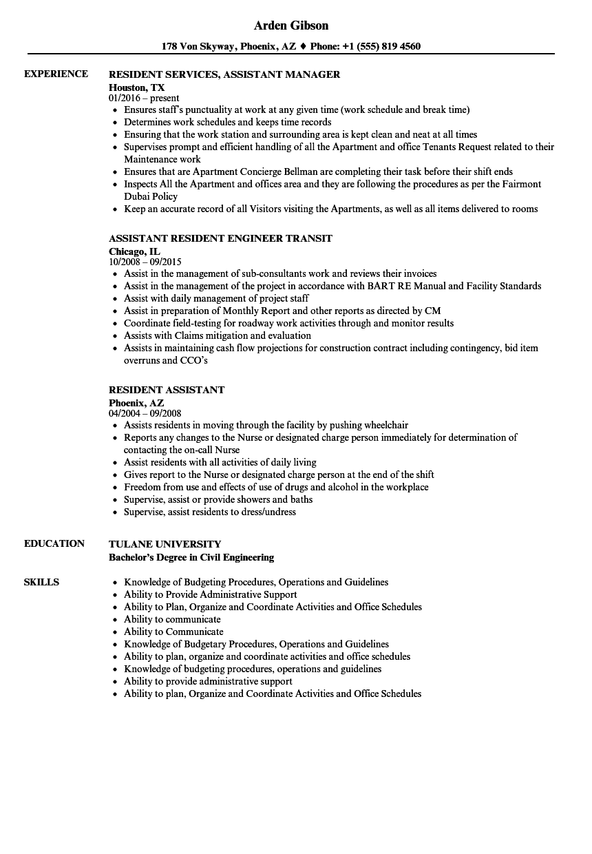 resume examples for resident assistant
