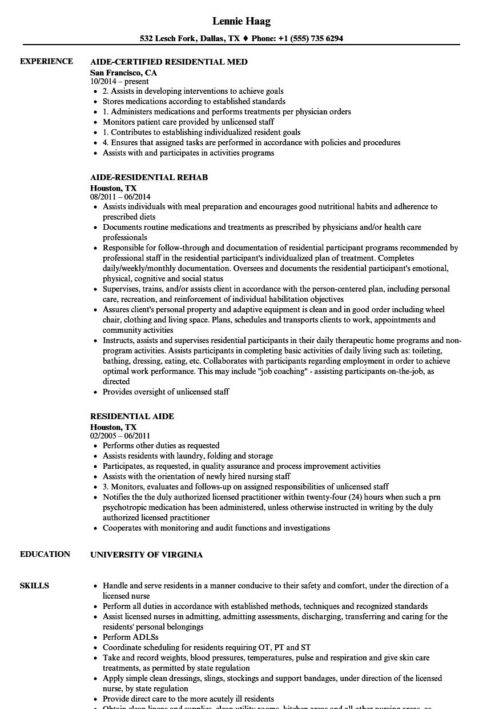 residential aide resume sample