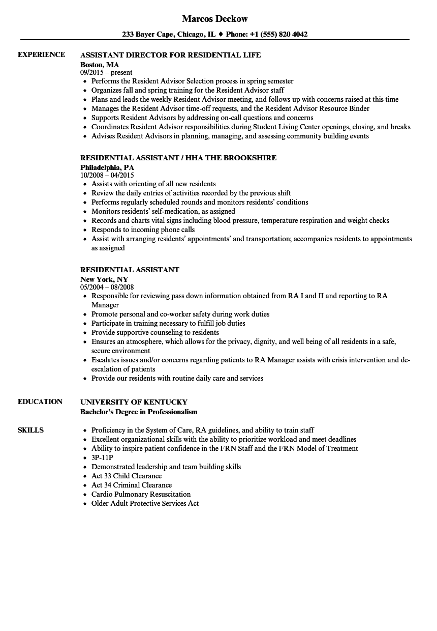 Residential Assistant Resume Samples Velvet Jobs