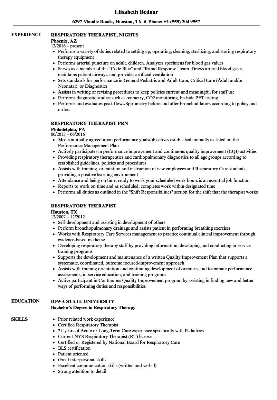 92 Resume For Respiratory Therapist Respiratory