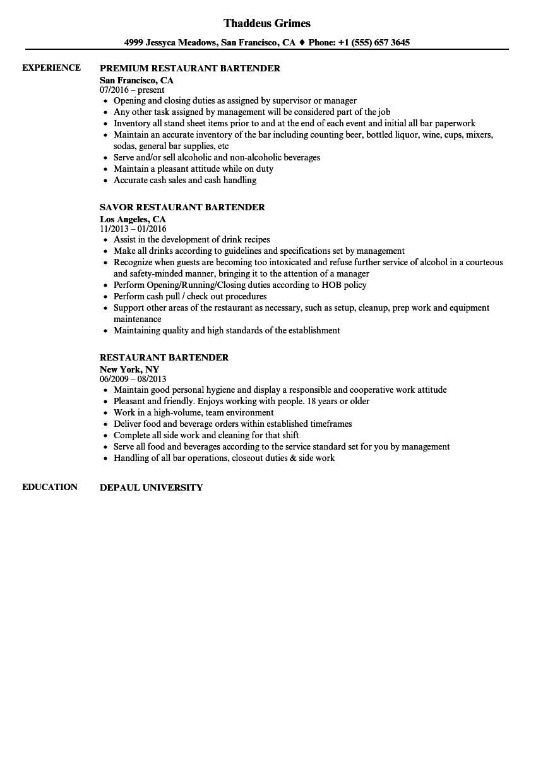 work resume bartender