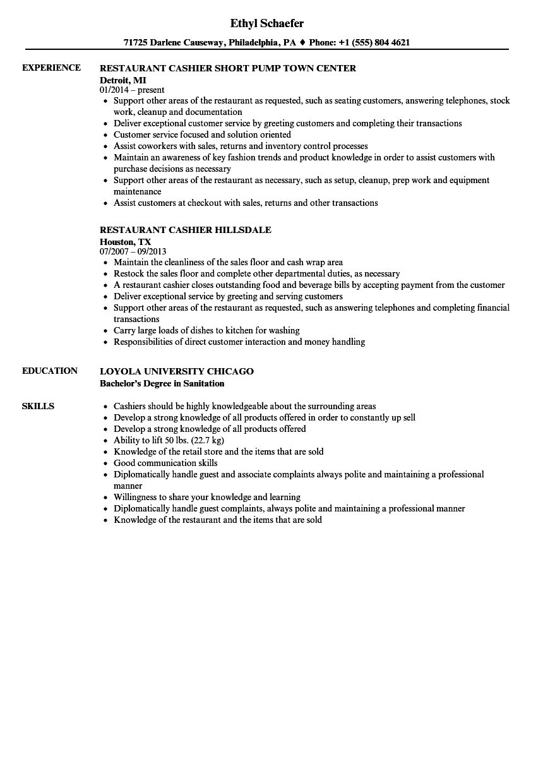 sample server and cashier clerk resume