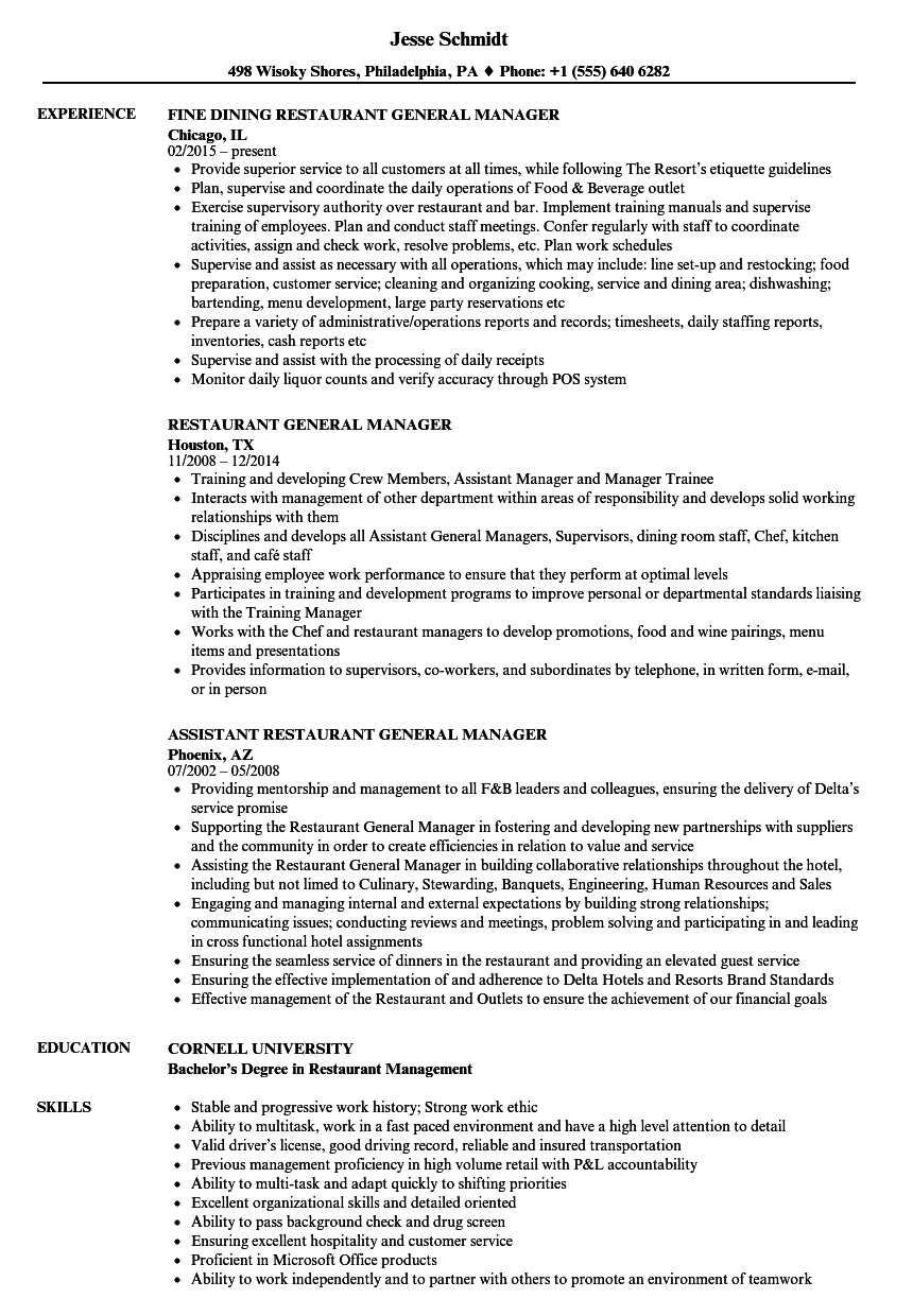restaurant kitchen manager resume examples