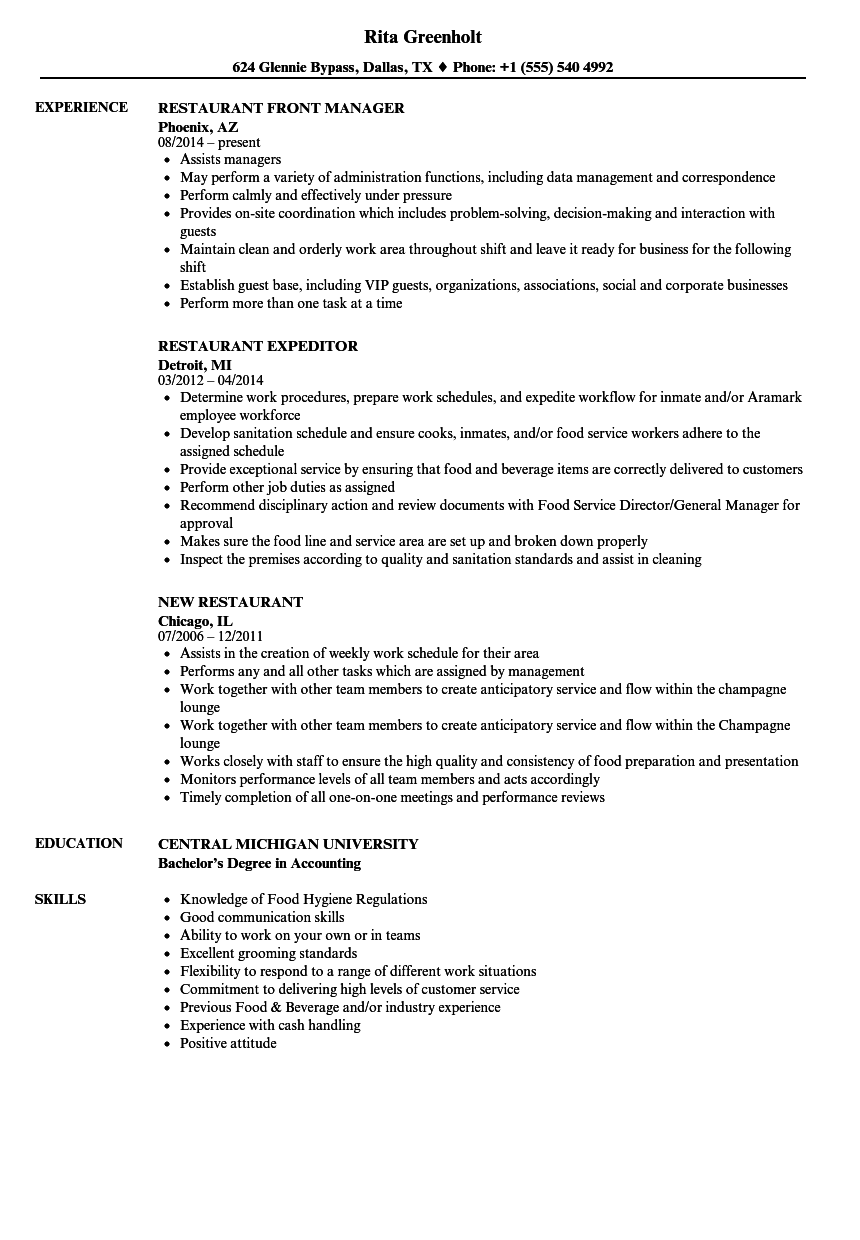 sample resume chipotle