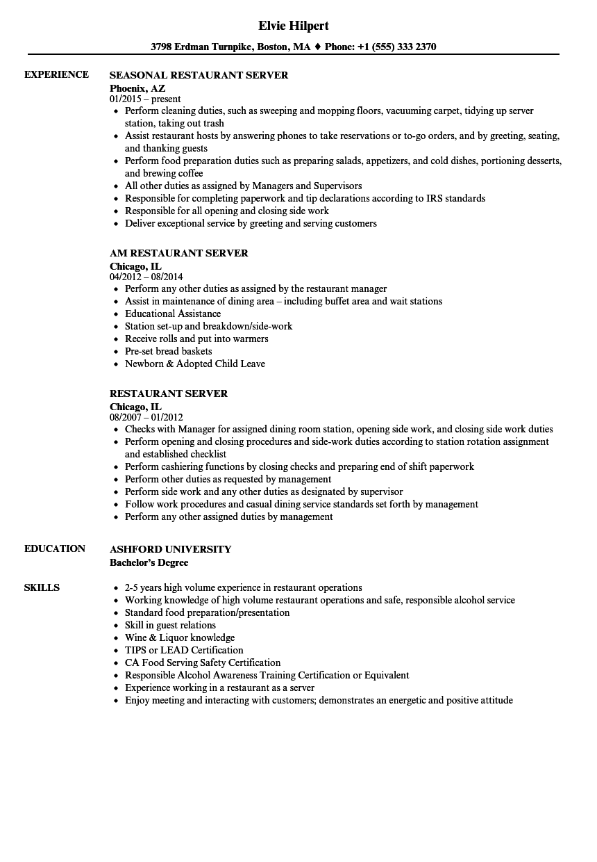 sample resume for part time job in restaurant