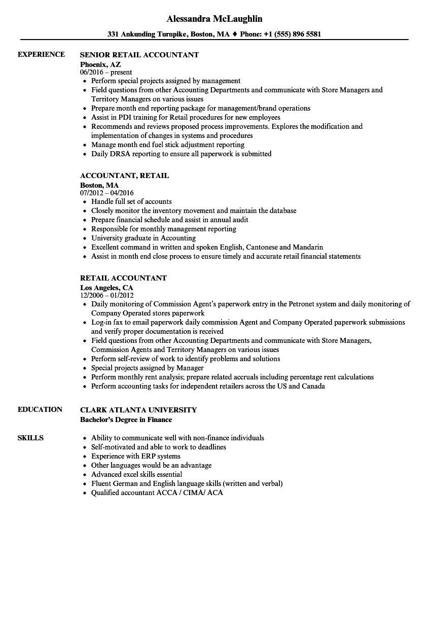 Download Retail Accountant Resume Sample As Image File
