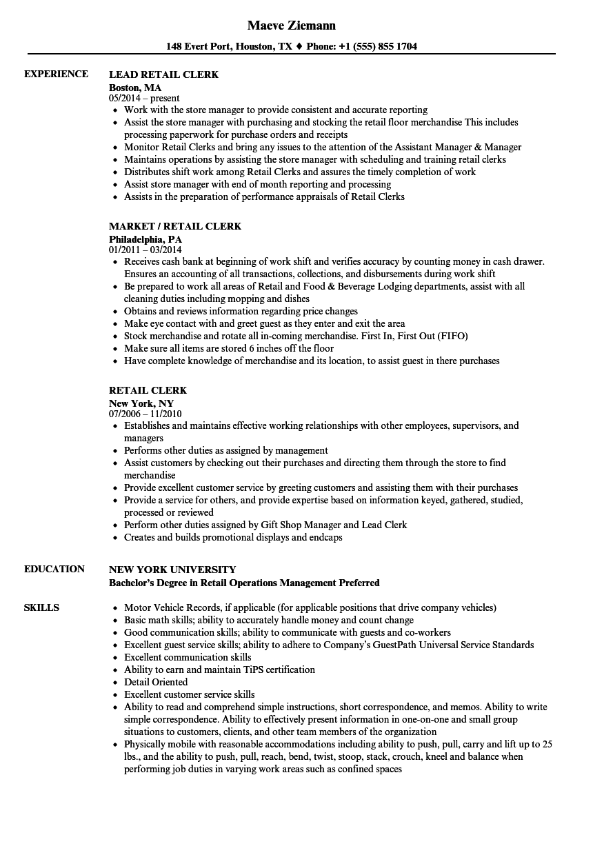 Retail Clerk Resume Samples Velvet Jobs