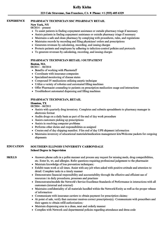 pharmacy technician sample resume for retail