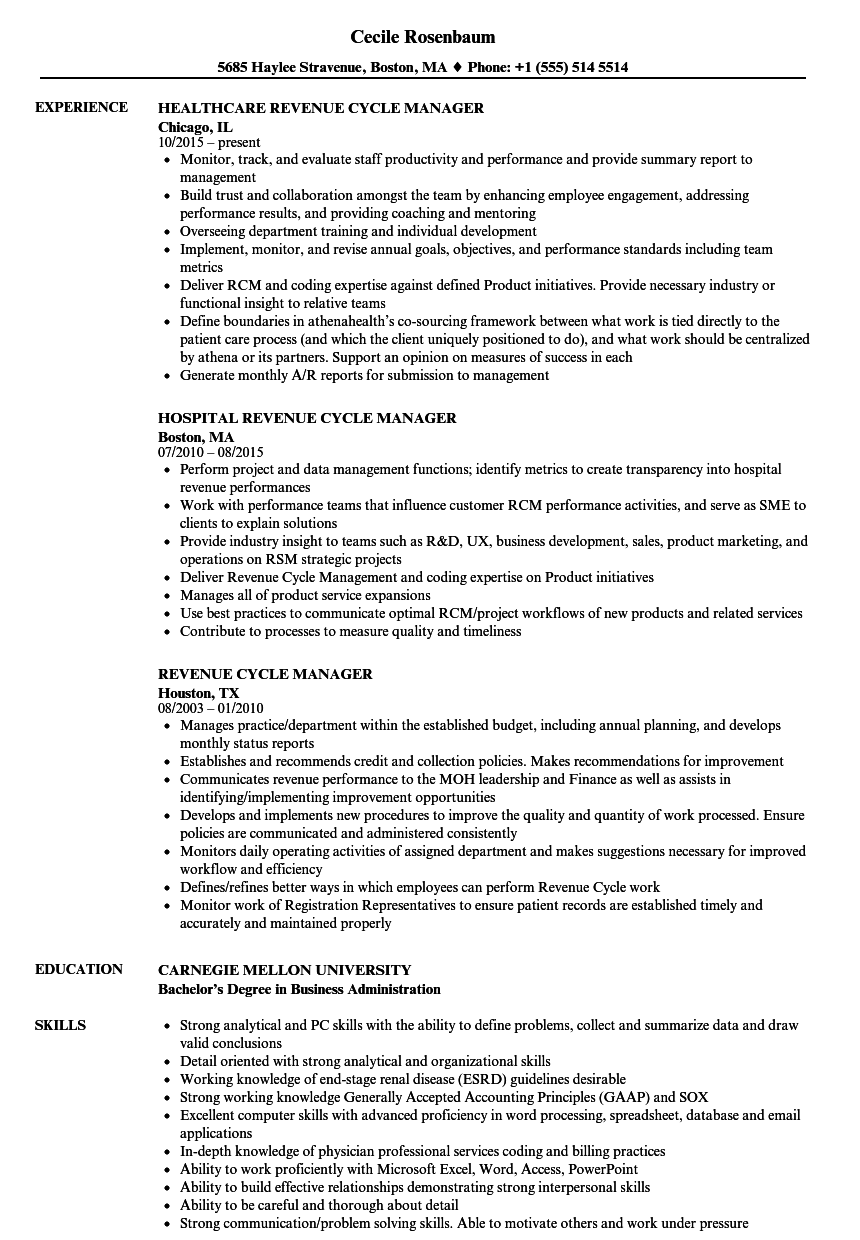 sample resume revenue cycle director
