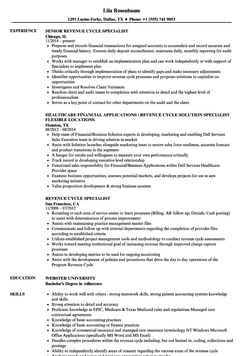 Revenue Cycle Specialist Resume Samples Velvet Jobs