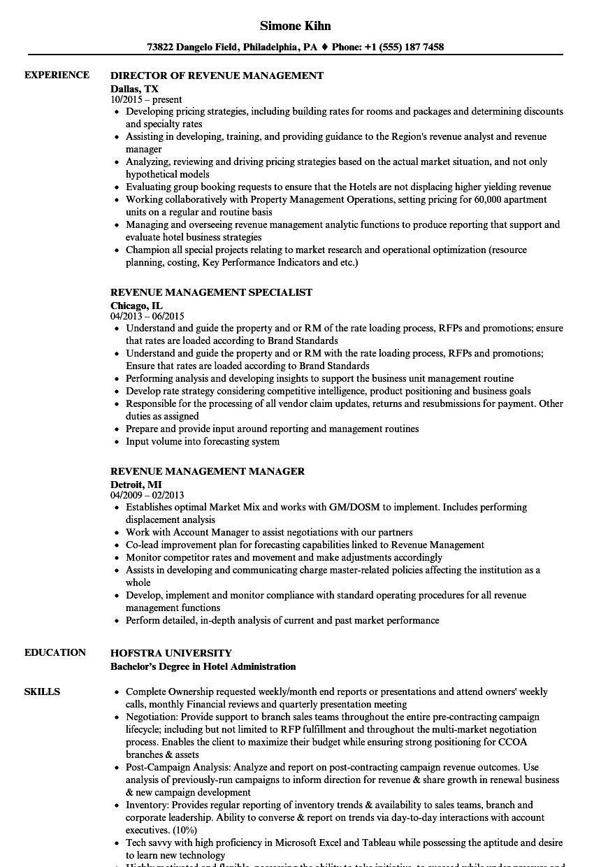 sample resume revenue manager