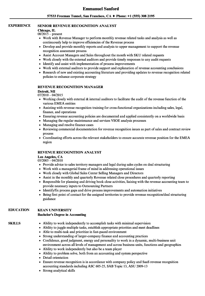 recognitions resume example